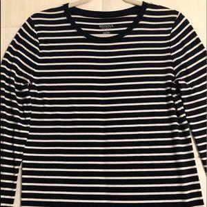 Navy and white long sleeve tee shirt